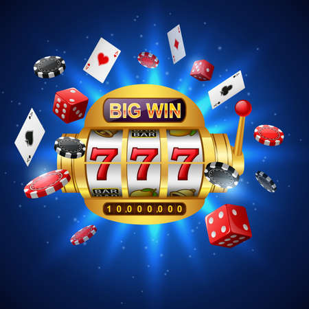 Big win slots machine 777 casino with chip poker, dice and playing cards on sparkling blue background. illustration