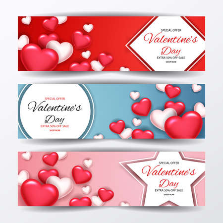 Set of Valentines Day Sale Promotion Banners. illustration