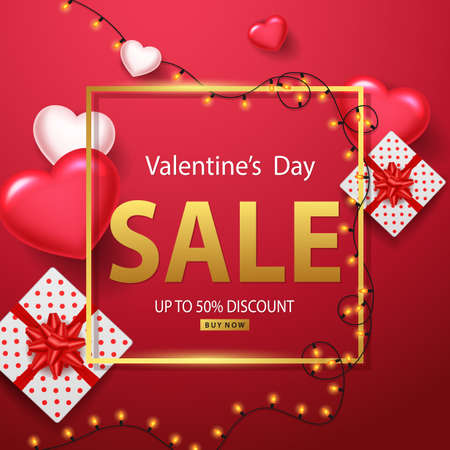 Valentines day sale background with heart ballons , shining lights, and gift boxes. illustration
