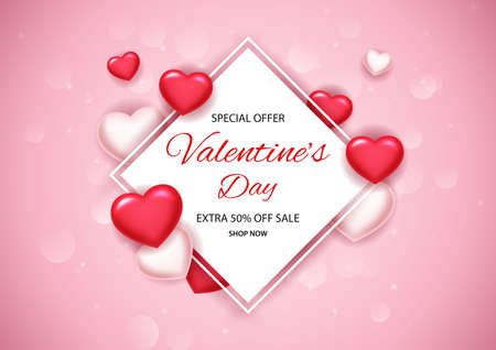 Valentines day sale background with balloons heart. illustration