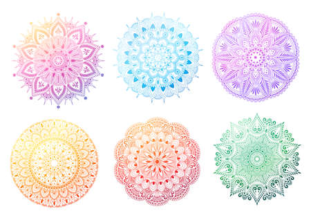 Set of round gradient mandala on white background. Mandala with floral patterns. Vector illustration Illustration