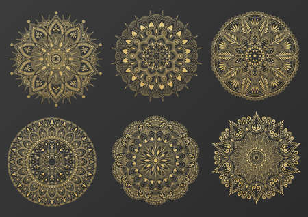 Set of round gold ornament mandala. Mandala with floral patterns. Yoga template. Illustration