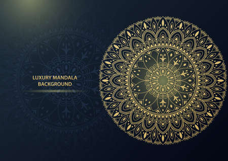 Luxury gold ornamental mandala background. Illustration Imagens