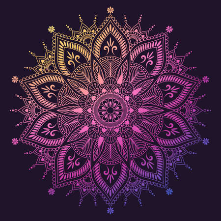 Flower Mandala. Oriental, mystic, alchemy pattern. Illustration