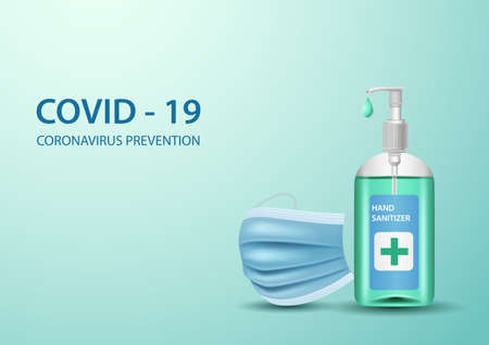 Coronavirus Concepts. Hand Sanitizer and Medical Mask on green background. Illustration Imagens
