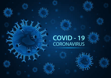 Novel coronavirus (2019-nCoV) on blue background. Illustration