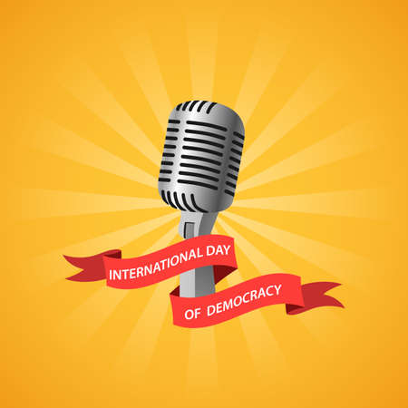 International day of democracy, concept microphone. Vector illustration Ilustração
