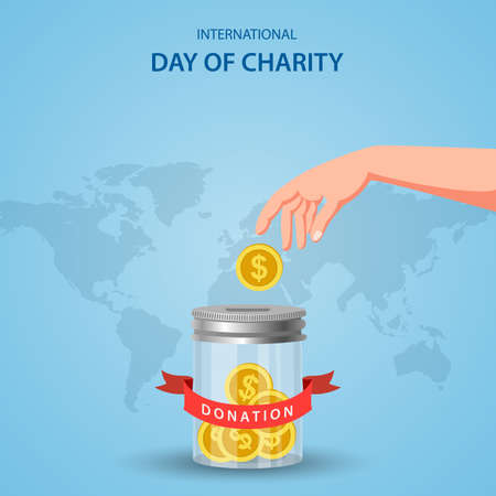 International day of charity, concept donation. Vector illustration