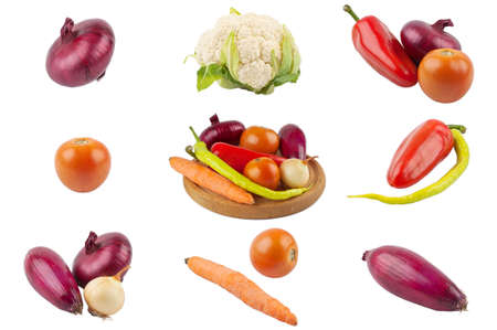 Vegetable collage isolated on white background Stock Photo - 9809576