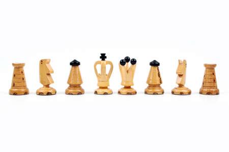 White chess pawns isolated on white background photo
