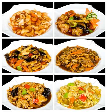 plat chinois: Collage avec de la nourriture chinoise � base de crevettes, de poulet et la sauce Banque d'images