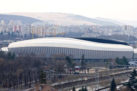 cluj: Cluj Arena stadium view from above the city in Cluj-Napoca, Romania
