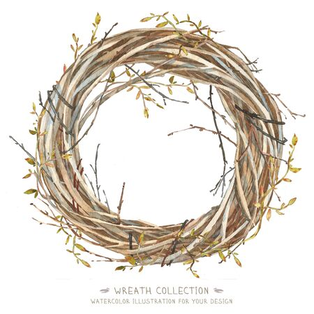 painted the cover illustration: Wreath in watercolor style. Beautiful round. Decor for invitations, greeting cards, posters.