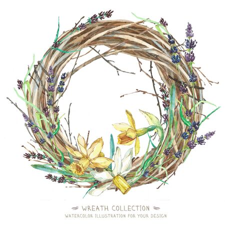 painted the cover illustration: Wreath in watercolor style. Beautiful round. Decor for invitations, greeting cards, posters.Whatercolor Wreath Easter