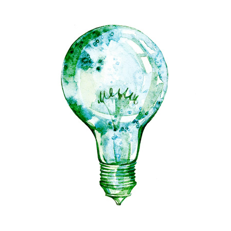 Light bulb with watercolor splashes. Concept or creative thinking and unique ideas.light bulb.Energy saving eco lamp hand drawn, isolated on a white background Standard-Bild