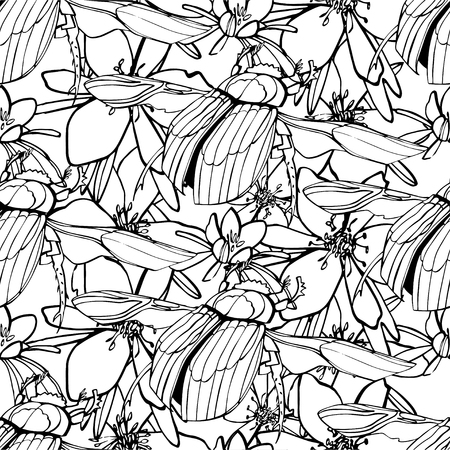 dense: Beetles seamless pattern. Seamless pattern with hand-drawn fly insects. Black and white monochrome insect texture. Fly vector coloring dense pattern ornament. Insect collection.