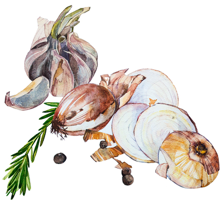 水彩バター スカッシュのスープ食品イラスト野菜 (トマト、たまねぎ、にんにく) と白い背景で隔離。メニュー。食品成分。水彩の手描きイラスト