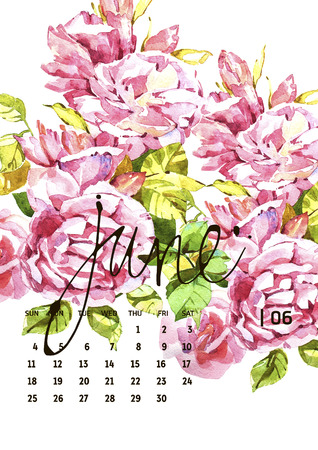 splash page: Calendar 2017. Templates with watercolor illustations. Set of 12 Months. Hand drawn watercolor flowers and berryes. Modern lettering Stock Photo