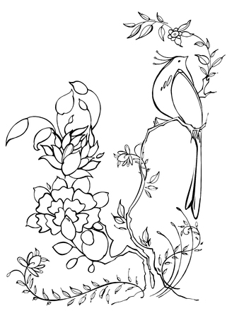 chinoiserie: Hand drawn graphic flowers with bird on white background. Black and white vector illustration. Chinoiserie
