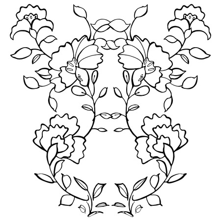 chinoiserie: Hand drawn graphic flowers on white background