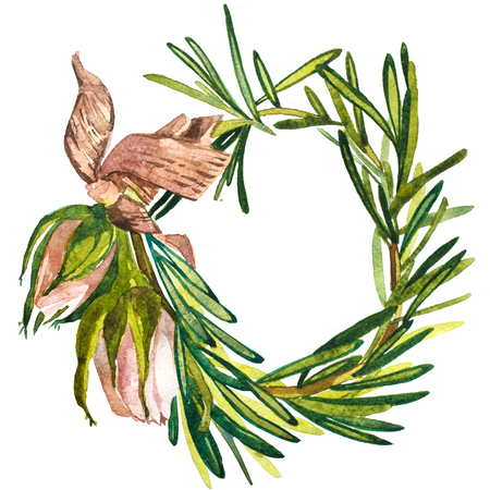 Wreath in watercolor style. Beautiful round. Decor for invitations, greeting cards, posters