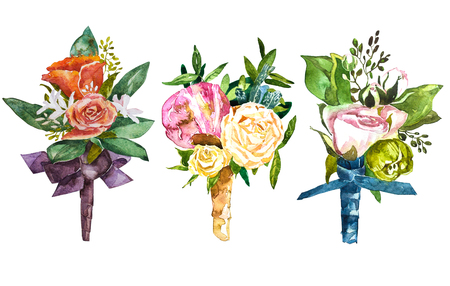Set watercolor illustration. Manual composition. Hand drawn watercolor sketch for wedding design. Bouquet and boutonniere
