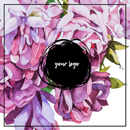 place for your text: Watercolor abstrackt flower background with place for your text