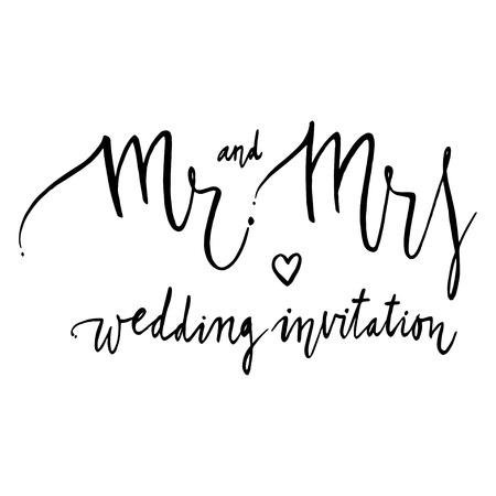 mr: Mr and mrs. Black and white lettering. Decorative letter. Vintage illustration