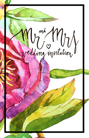 Watercolor abstrackt background with decorative letter Mr and mrs