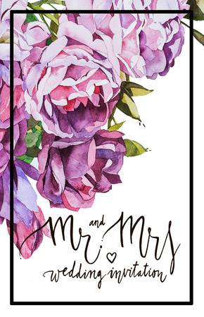 mr: Watercolor card. Mr and mrs. Black white lettering. Decorative letter