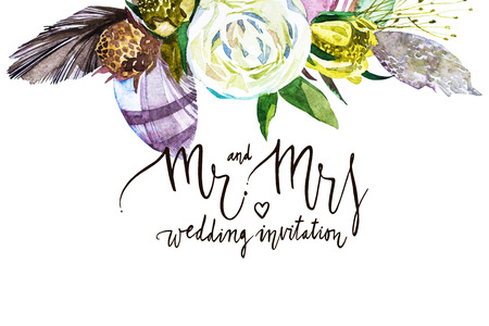 Watercolor card. Mr and mrs. Black white lettering. Decorative letter