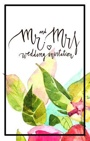 mr: Watercolor abstrackt background with decorative letter Mr and mrs