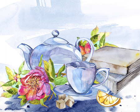 Collection of watercolor illustration on the theme of tea.