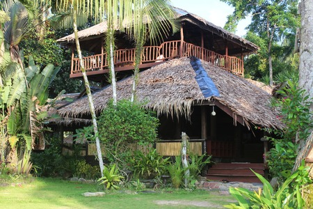 House in a beautiful garden on a tropical island