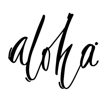 Frase Dibujada A Mano Aloha. Diseño De Letras Para Carteles ...