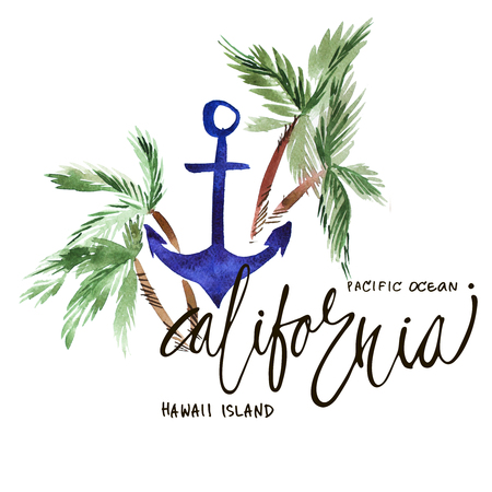 pacific ocean: Vintage watercolor summer california, pacific ocean print with typography design, palm trees and lettering. Tropical set, T-shirt design. Stock Photo