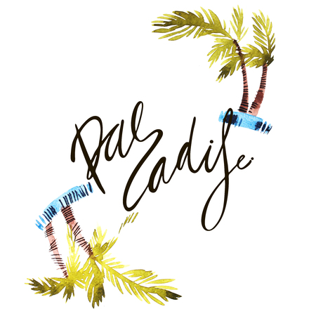 Vintage watercolor summer paradise print with typography design, palm trees and lettering. Tropical set, T-shirt design.