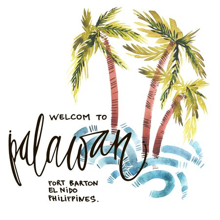 pacific ocean: Vintage watercolor summer pacific ocean print with typography design, palm trees, waves and lettering. Tropical set, T-shirt design. Stock Photo