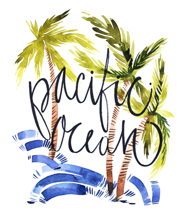 Vintage watercolor summer pacific ocean print with typography design, palm trees and lettering. Tropical set, fashion print, T-shirt design.