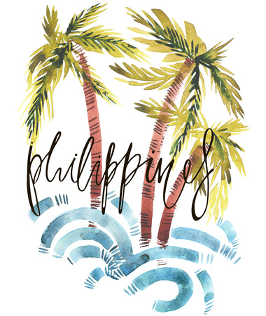 pacific ocean: Vintage watercolor summer pacific ocean print with typography design, palm trees and lettering. Tropical set, fashion print, T-shirt design.