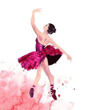 Watercolor ballerina hand painted Ballet dancer illustration. Dinamic composition