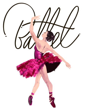 tänzerinnen: Aquarell Ballerina Hand mit Wort Ballett gemalt. Dancer Illustration