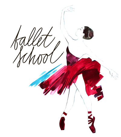 Watercolor ballerina hand painted with words Ballet school. Dancer illustration