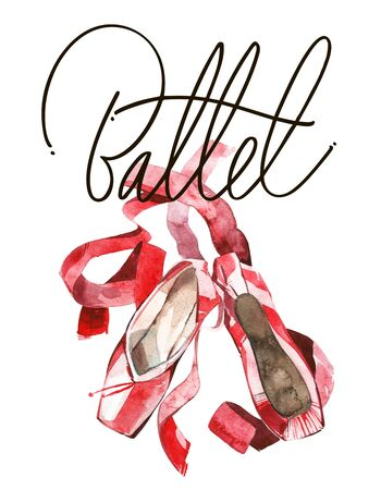 Elegant illustration of ballet pink shoes with ribbon. . Isolated on white. Banque d'images