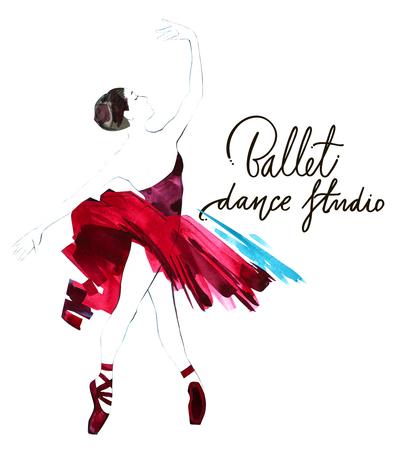 Watercolor ballerina hand painted with words Ballet dance studio. Dancer illustration
