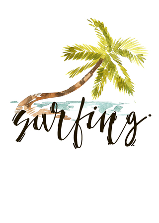 Vintage watercolor summer surfing with typography design, trees and lettering. Tropical set, fashion , T-shirt . Stock Photo
