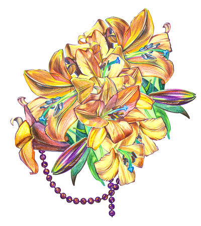 Illustrations of lily flowers. Perfect for greeting card or invitation Stock Photo