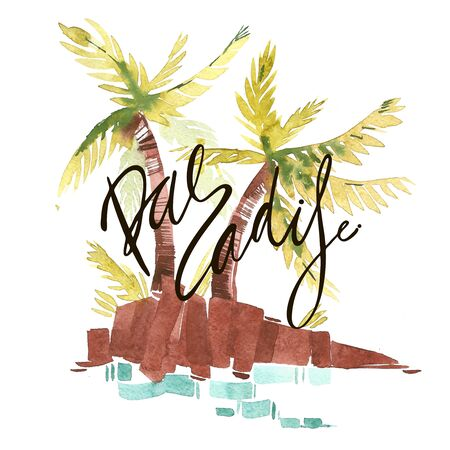 Vintage watercolor summer pacific ocean print with typography design, palm trees and lettering.