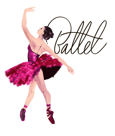Watercolor ballerina hand painted with words Ballet. Dancer illustration
