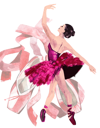 Watercolor ballerina hand painted with word Ballet. Dancer illustration and elegant of pink shoes ribbon